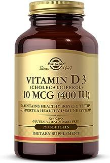 Solgar Vitamin D3 (Cholecalciferol) 10 MCG (400 IU), 250 Softgels - Helps Maintain Healthy Bones & Teeth - Immune System S...