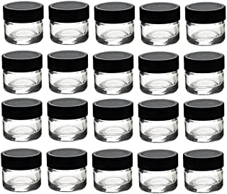 Premium Vials, 50 pcs, Glass Concentrate Jars with Black Lids - Air Tight Medical Marijuana Cannabis Concentrate Container...