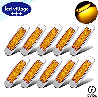 LedVillage [Pack of 10] 12V DC 6.4 Inch Ultra Slim Amber Surface Mount 12 LED Side Marker Fender Tail Light Clearance Lamp Trailer Truck Kenworth Peterbilt Lorry Freightliner w/Chrome Waterproof BB12