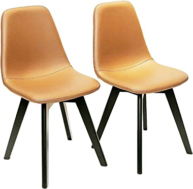 Dining Chairs Set of 2, Dining Room Chair Washable Brown PU Cushioned Side Chairs with Sturdy Wooden Legs, Mid Century Modern