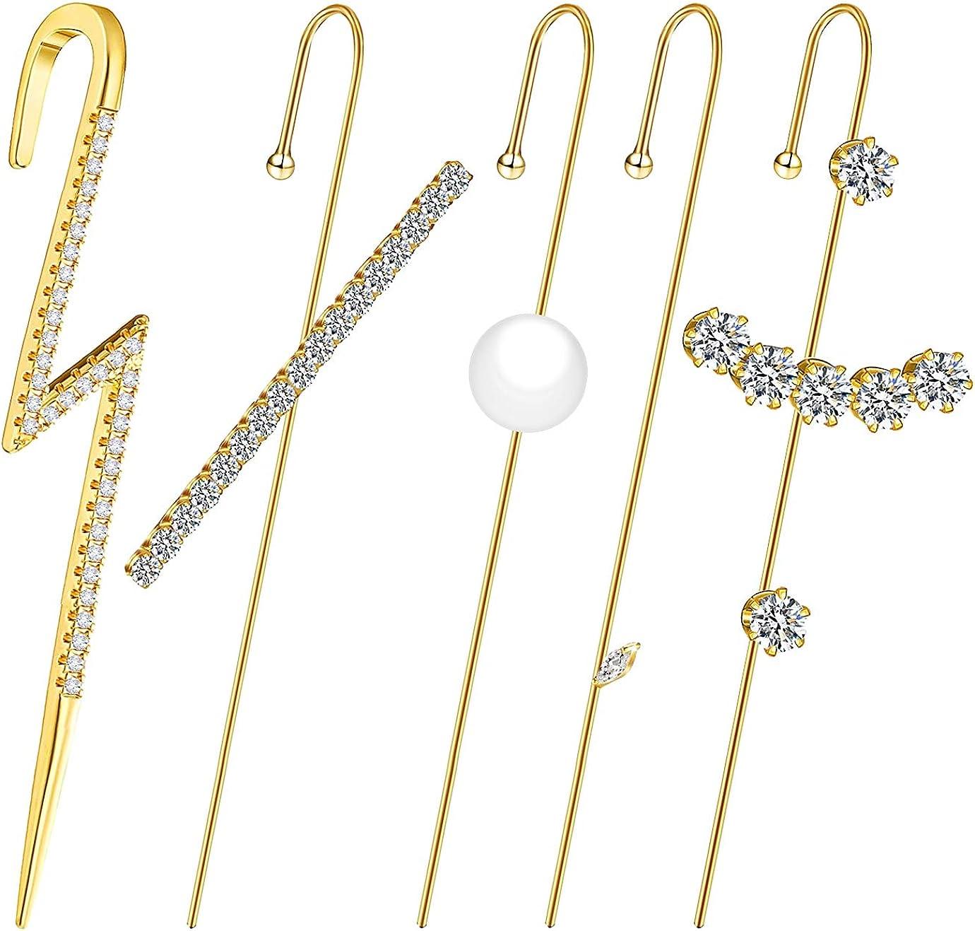 KONUNUS 5 Pieces Ear Cuffs Wrap Crawler Hook Earrings Gold