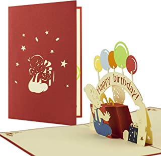 G06 Tarjeta de felicitación para cumpleaños niños de alta calidad hecho a mano disegno 3D desplecable con globos de colores y texto en inglés