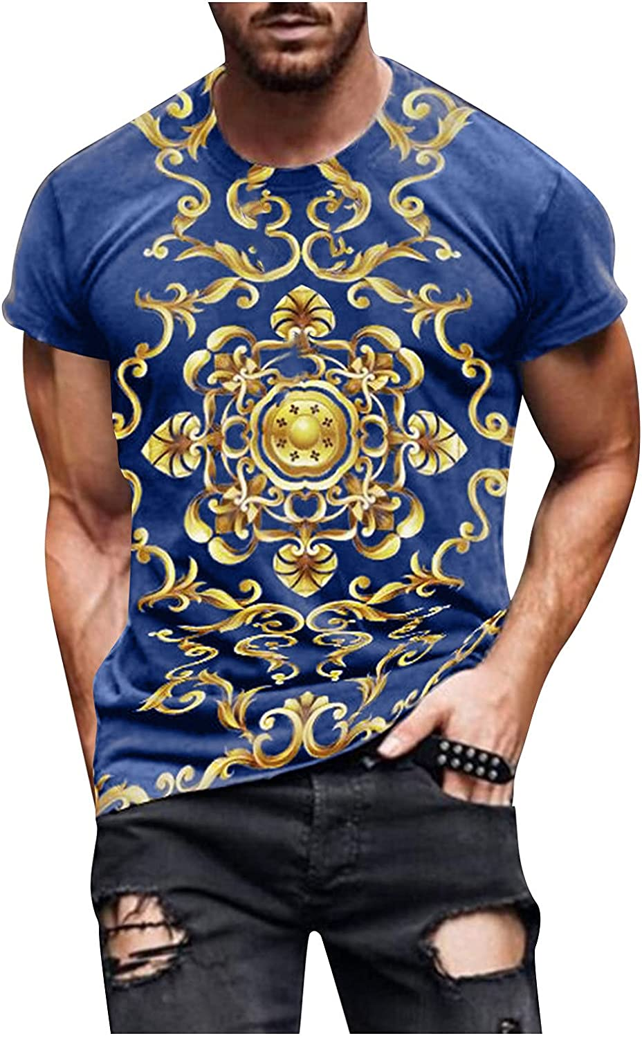 Men's Gym Workout T Shirts Basic Short Sleeve Slim Fit Muscle Bodybuilding Casual O Neck Printed Tee Tops