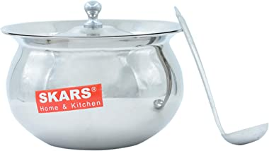SKARS Stainless Steel Ghee Pot with Spoon Ghee Pots Ghee Container with Spoon for Kitchens in Mirror Finish Pot 9 (Silver 400ML)