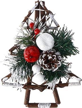 BESTOYARD Rattan Christmas Tree Toppers Christmas Tabletop Decorations Xmas Tree Decorations Christmas Wood Ornaments Holiday