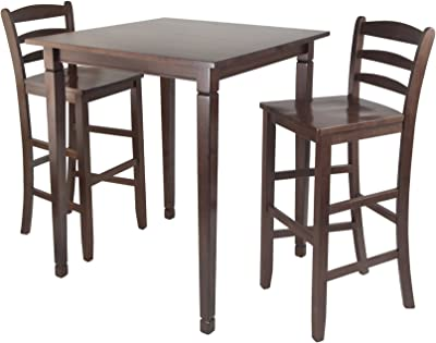 Winsome Kingsgate High/Pub Dining Table with Ladder Back High Chair, 3-Piece