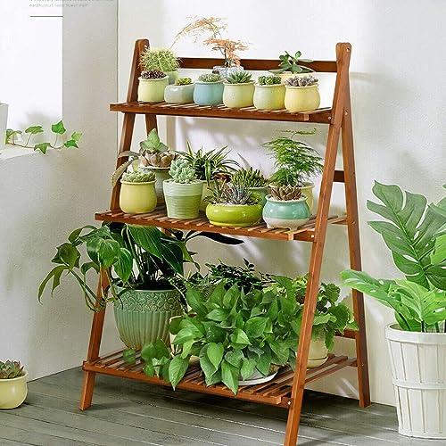 discount Giantex Folding Bamboo Plant Stand, 3-Tier Flower online Pot Rack Display Shelf, Foldable Plants Holder Organizer Storage popular Shelving for Patio Garden Balcony Home Indoor Outdoor (Brown) online