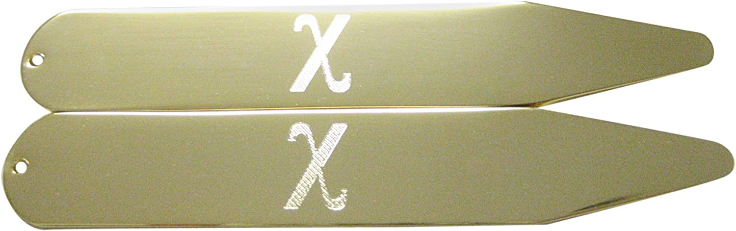 Gold Toned Etched Greek Letter Chi Collar Stays