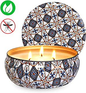 Ahyiyou 3 Wicks Citronella Scented Candle, 14oz Large Natural Soy Wax Tin Candle for Decoration Gift, Outdoor and Indoor