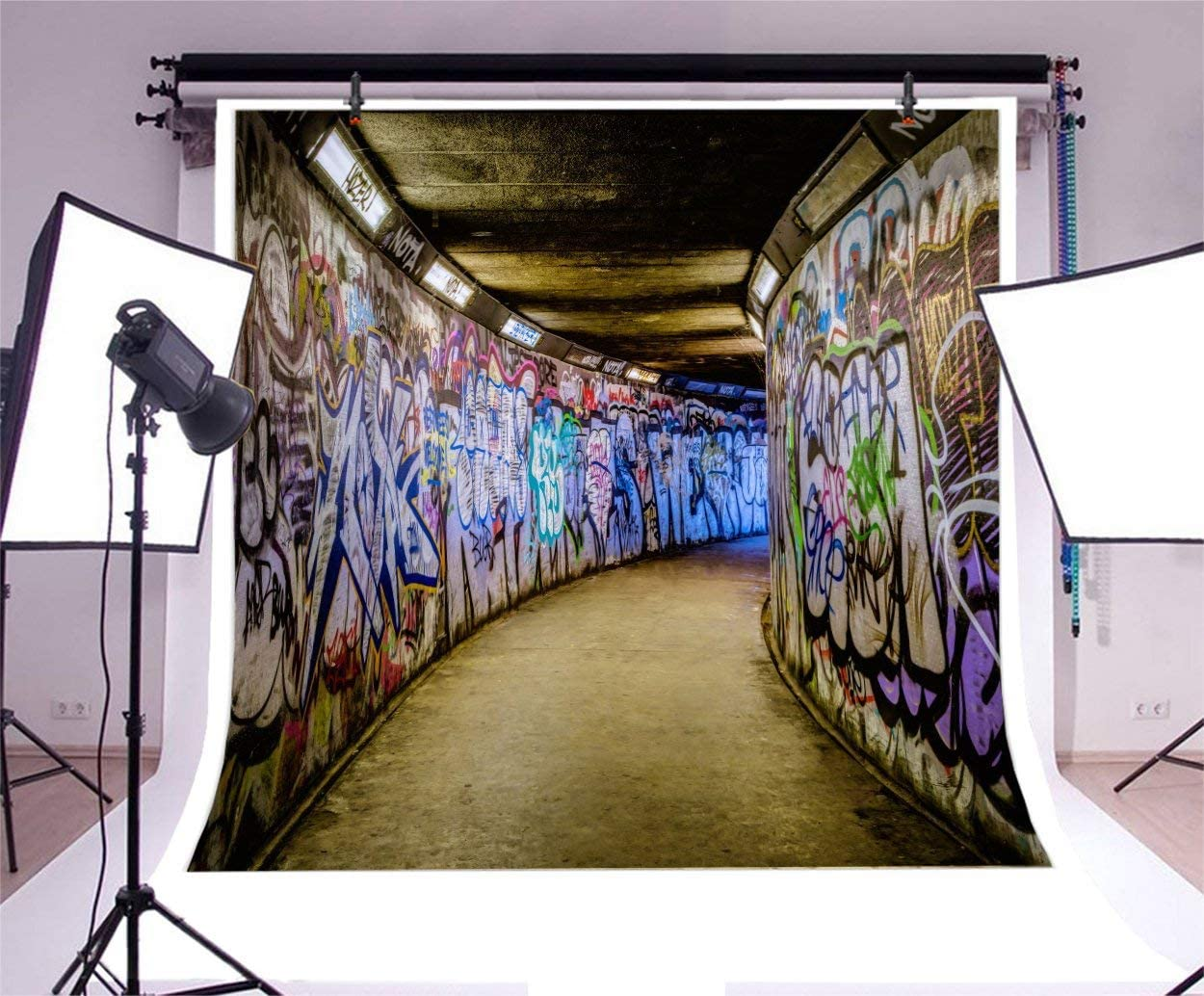 12x12ft Subway Graffiti Photo Backdrop Old Drak Underground Corridor Wall Hip Hop Abstract Air Painting Tunnels Background for Photography Photo Studio Props
