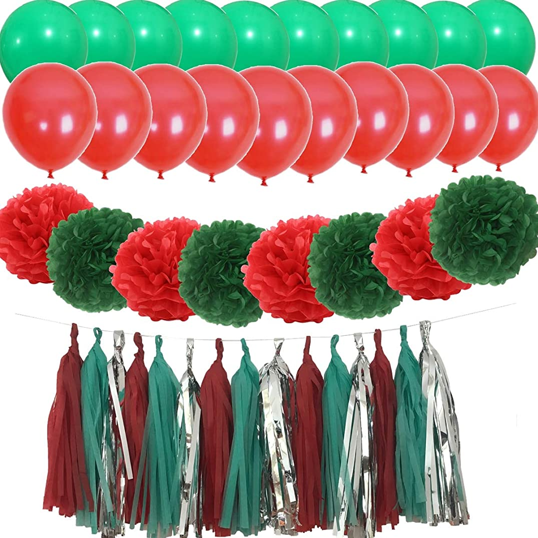 KeYanging 43PCS Christmas Party Decoration Kit Red and Green Party Décor Supply Set - 12