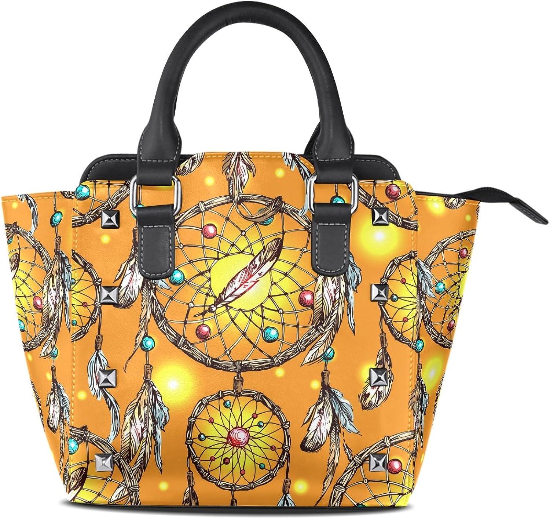 My Little Nest Women's Top Handle Satchel Handbag Beautiful Boho Dream Catcher Ladies PU Leather Shoulder Bag Crossbody Bag