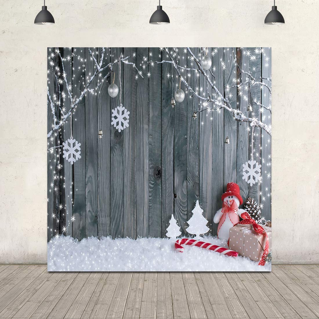 Christmas Wood Backdrop Winter Snow Backgrounds for Photography 10X10ft Snowman Snowflake Christmas Backdrop with Floor Xmas Party Supplies New Year Decors Kids Portrait Christmas Photo Booth Props