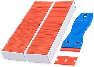 Plastic Razor Blades Scraper with 200 PCS 1.5 Inch Refillable Double Edged Razor Blades