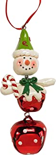 K&K Interiors 4-inch Bell Bodied Whimsical Snowman Ornament Holding Candy Cane