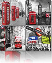 4 Panels Black and White Modern Buildings Canvas Wall Art Big Ben and Red Telephone Booth..