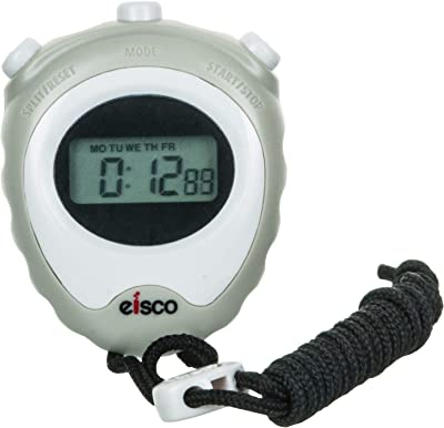 EISCO - LCD Digital Professional Stopwatch, Displays Normal Time, Hours, Minutes, Seconds, Days, Dates, Months, Chronograph 1/100 Sec. With Lap/Split, Accurate To 1/100th Second, With Alarm, 12/24 Hour Format and Hourly Chime, Comes With An Instruction Manual