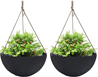 """LA JOLIE MUSE Large Hanging Planters for Outdoor Indoor Plants, Black Hanging Flower Pots with Drain Holes (13.2"""", Set of 2)"""