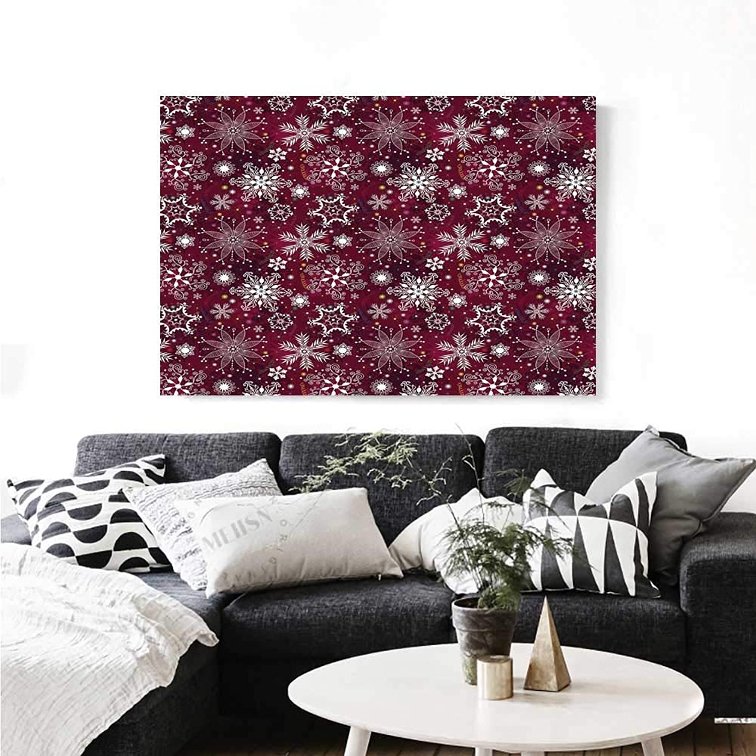 Warm Family Winter Canvas Wall Art for Bedroom Home Decorations Floral Flakes with colorful Swirls Dots and Stars Confetti Xmas Party Wall Stickers 36 x32  Maroon White Multicolor