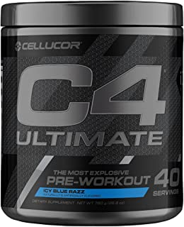 Cellucor C4 Ultimate Pre Workout Powder Icy Blue Razz | Sugar Free Preworkout Energy Supplement for Men & Women | 300mg Ca...