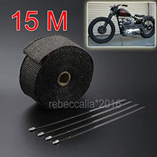 Festnight 1,5 m Fiberglas-W/ärmeaustauschverpackung Rolle Motorrad Auto W/ärmeisolierte Wrap Turbo Ansaugkr/ümmer Heat Wrap Praktisches Hitzeschildband