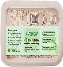 48 Piezas VIMOV Cubiertos de madera y vajilla desechable Platos desechable (12), Tenedores (12), Cuchillos (12), Cuchara (12) Ecológico para fiestas, banquetes