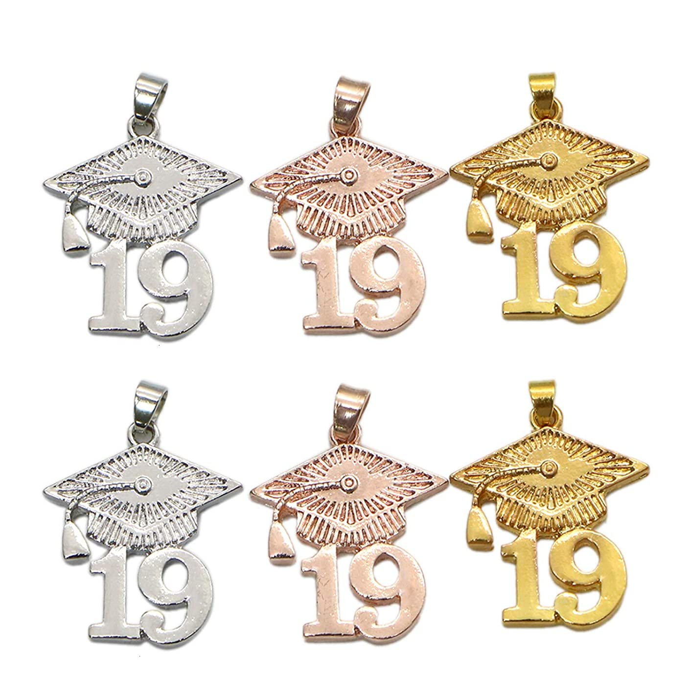Monrocco 6Pcs 3 Colors 2019 Graduation Charms Graduation Cap Pendant for Jewelry Making and Crafting