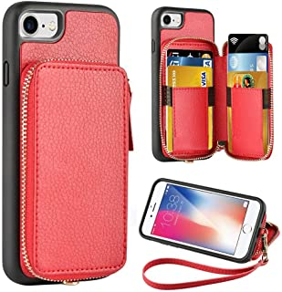 ZVE Wallet Case for Apple iPhone 8 and iPhone 7, 4.7 inch, Zipper Wallet Case with Credit Card Holder Slot Handbag Purse Wrist Strap Protective Case for Apple iPhone 8/7 4.7 inch - Red