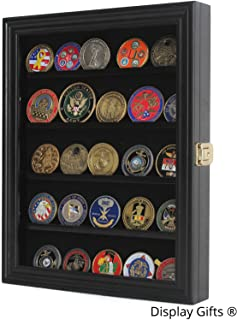 Lockable Challenge Coin, Sport Competition Coin, Casino Chip Display Case Wall Mounted Cabinet COIN30-BL