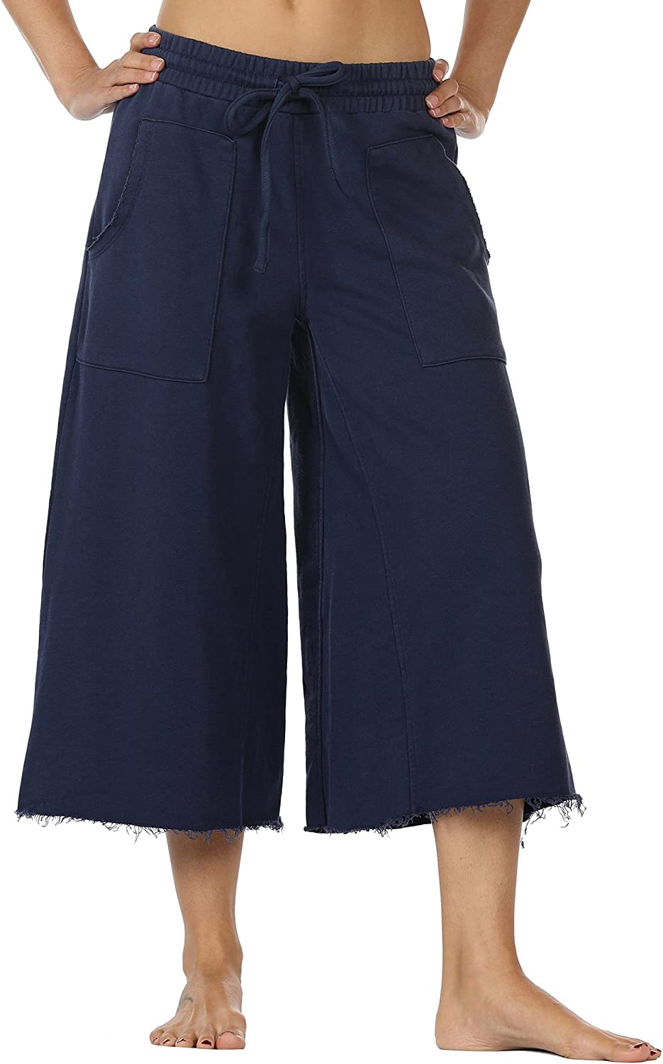 Icyzone Womens Joggers Sweatpants  Athletic Lounge Cotton Terry Wide Leg Capri Pants with Pockets
