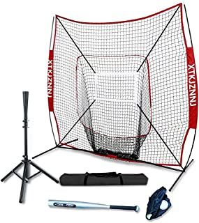 Baseball Softball Practice Net for Hitting and Pitching 7'x7'/5'x5' Baseball Training Equipment Practice Hitting Pitching Batting Fielding with Batting Tee Strike Zone Build Confidence Family Activity