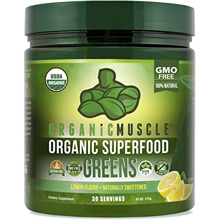 Organic Muscle Superfood Greens   USDA Certified Organic Green Juice Powder   Supports Gut Health, Energy & Weight Management   Vegan, Keto, Non-GMO   Lemon Flavor   30 Servings