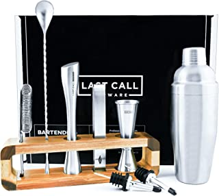 Modern Bartender Kit: 9 Piece Ultra Premium Bar Tools with Acacia Wood Stand - Amazing Professional and Home Bar Set to Cr...