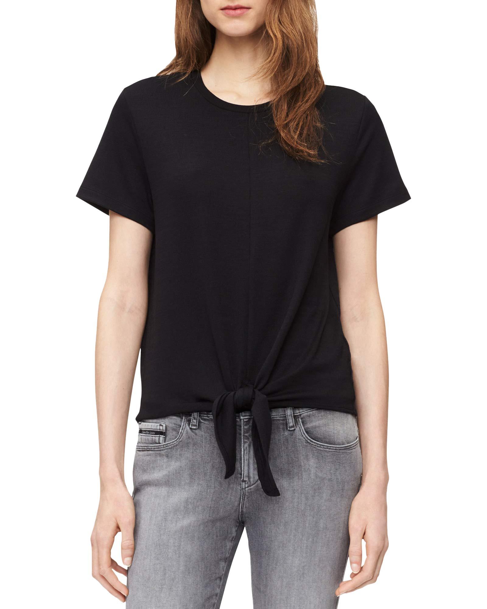 Calvin Klein 女士前系带结短袖针织上衣