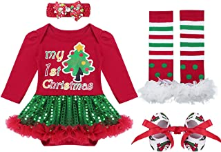 iiniim 4Pcs Baby Infant Girls Santa Long Sleeve Romper Tutu Skirt with Leg Warmers Headband Outfits Christmas Costume
