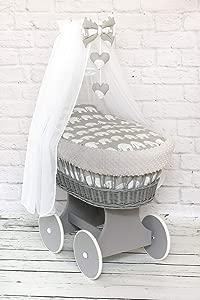 Wicker Wheel Moses Basket Baby Full DIMPLE Bedding Set Canopy Grey Elephants Grey