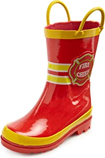 Puddle Play Toddler and Kids Waterproof Rubber Fire Rain Boots Easy-On Handles - Toddler/Little Kids