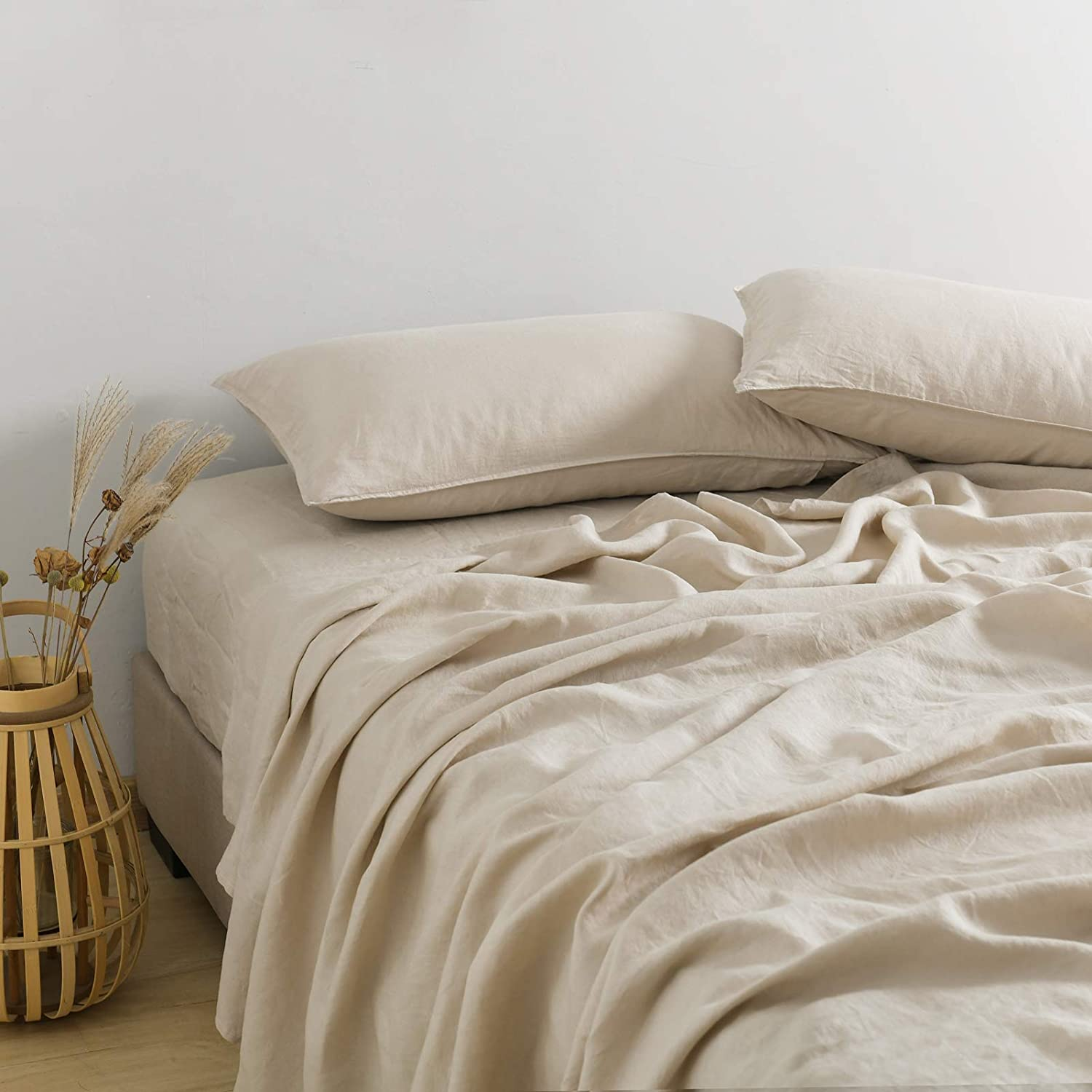 PANDATEX 100% free shipping Natural French Linen Sheets It is very popular Fl 1 Piece Set– 4