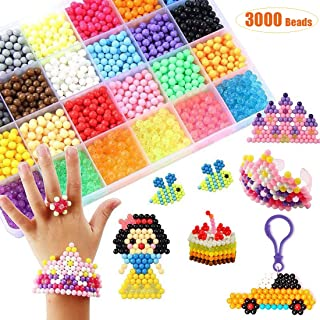 Water Fuse Beads Kit 24 Colors 3000 Beads, Refill kit Compatible Beados Magic Water Sticky Beads Art Crafts Toys for Kids Beginners (Beads Complete Set)