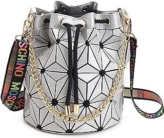HERACE Geometrische Gitter Crossbody Geldbörse, Kette Riemen, Schultertasche, Eimer, Clutch Evening Hangbag für Damen, Silber