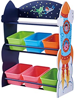 Fantasy Fields - Outer Space Kids' Toy Organizer with 6 Storage Bins, Blue
