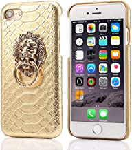 ICI-Rencontrer iPhone XR Case Cool Elegant 3D Gator Skin Textured Shockproof Anti-Scratch Fashion PU Leather Case with Lion Head Metal Ring Stand (Gold, iPhone XR)