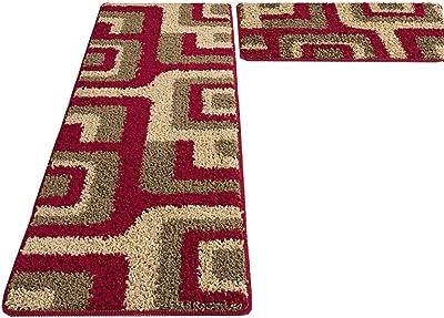 YGC24 Thick Kitchen Mat Home Non Slip Runner Rug Entrance Barrier Red Carpet (Size : 45 * 70CM+45 * 120CM)