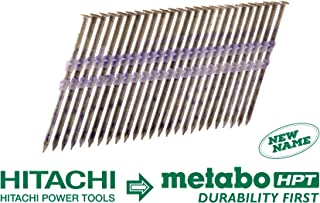 Metabo HPT 20163SHPT 3-1/4-in x .131 Framing Nails, Full Round Head, Hot Dipped Galvanized, Plastic Strip Collation, For 21 Degree Framing Nailers, 1,000 Per Box