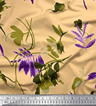 Soimoi Orange Cotton Voile Fabric Floral & Leaves Printed Craft Fabric BTY 56 Inch Wide