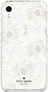 Kate Spade New York Hollyhock Case for iPhone XR - Protective Hardshell, Hollyhock Cream/Blush/Crystal Gems/Clear (KSIPH-108-HHCCS)