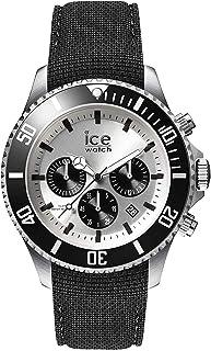 Ice-Watch - Ice Steel Black Silver Chrono - Montre Noire pour Homme avec Bracelet en Silicone - Chrono - 016302 (Large)