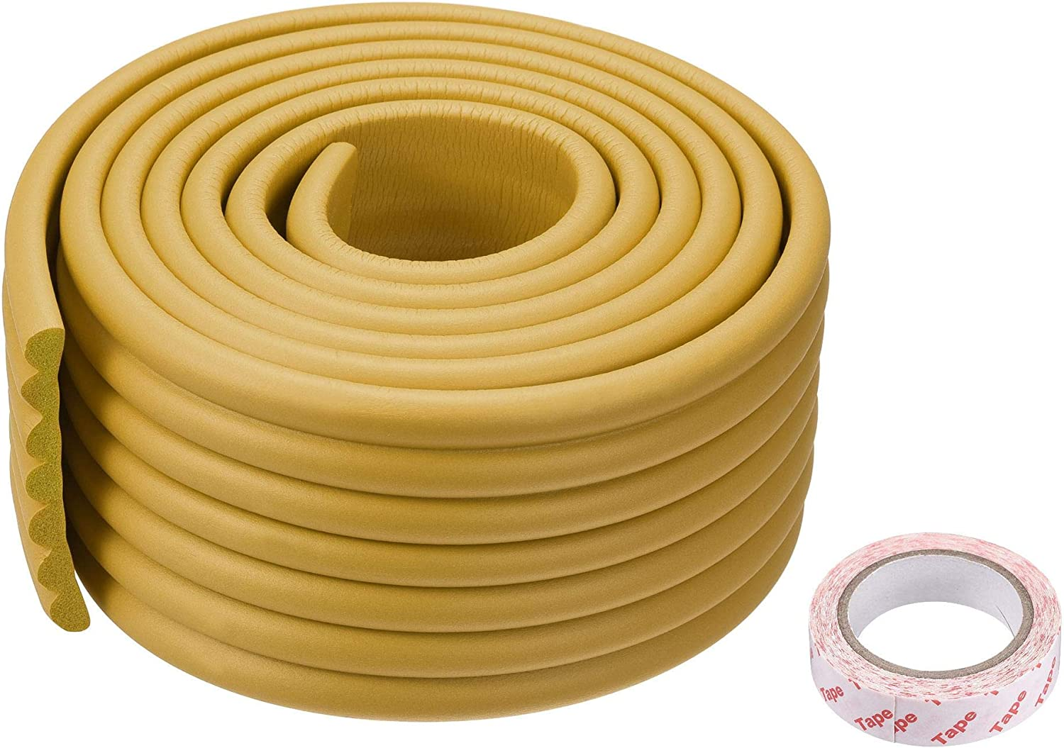 uxcell Furniture Table Edge Protectors W-Shape Soft NBR Anti-collision Strip with Tape, 2 Meters Length Light Wood Color, 2pcs