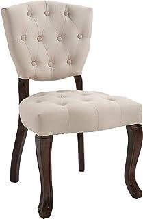 CLP Chaise De Salle A Manger Elysa en Tissu I Chaise avec Assise Et Dossier rembourrés I Style Chesterfield I Piètement en...