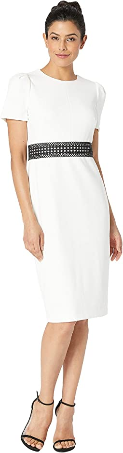 Short Sleeve Midi Dress with Trim at Waist CD8C15VW